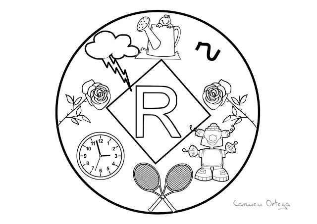 Mandalas del abecedario para colorear: Letra R | mandalas ...