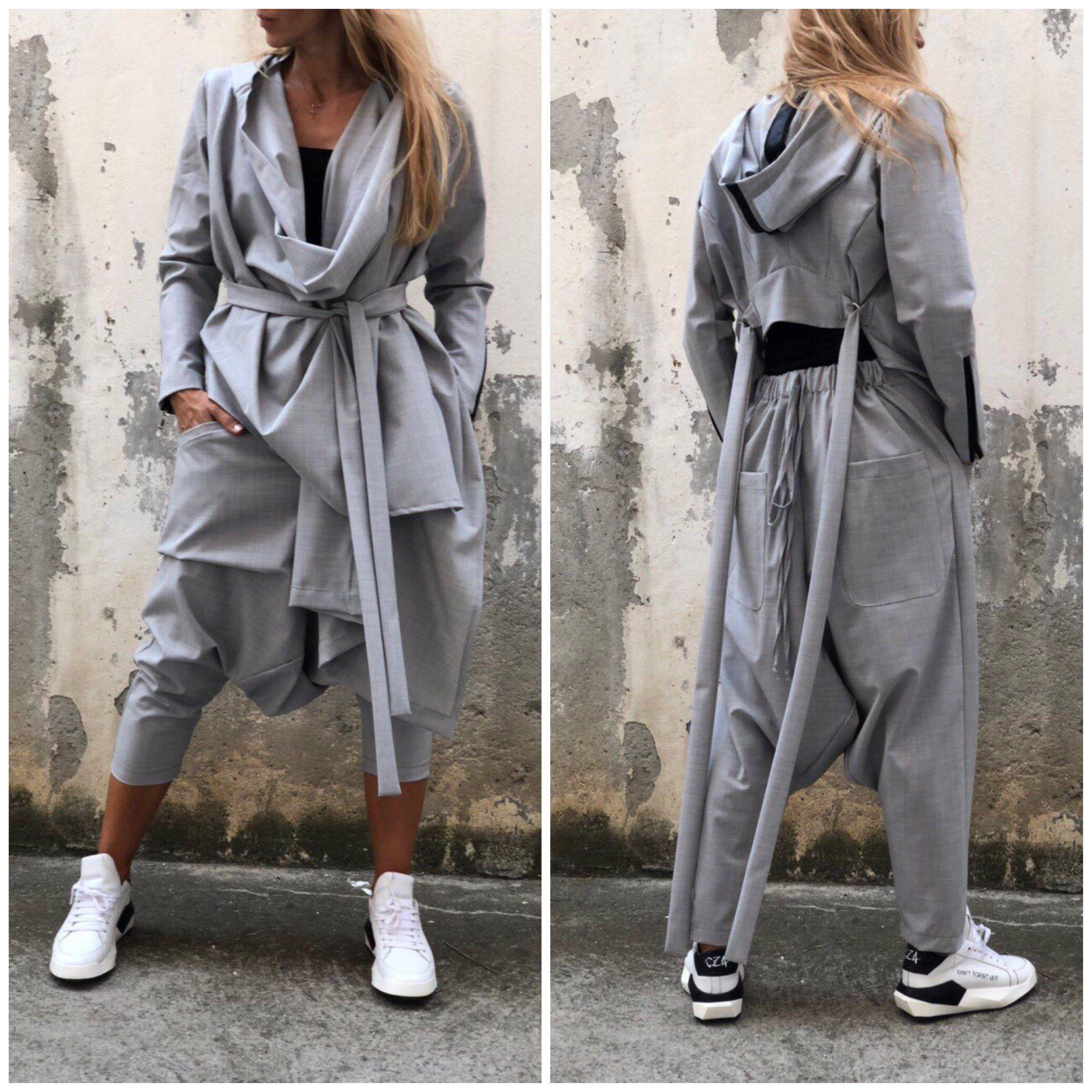 009370b01d2e0 Excited to share this item from my  etsy shop  New Loose Suit   Harem Pants    Drape Vest   Loose Pants   Asymmetric Vest   Long Sleeve Vest    Extravagant ...