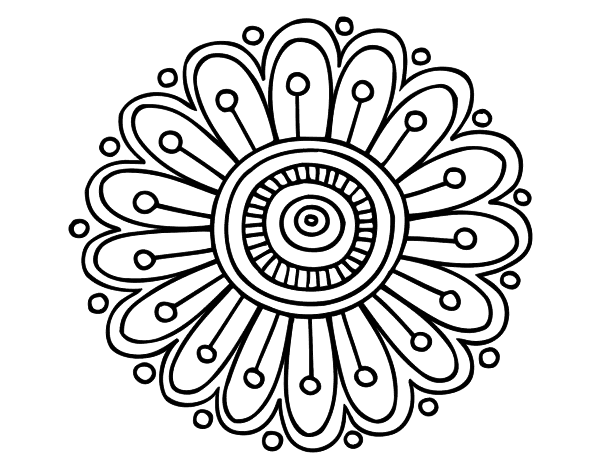 Dibujo de un Mandala margarita para pintar, colorear o imprimir