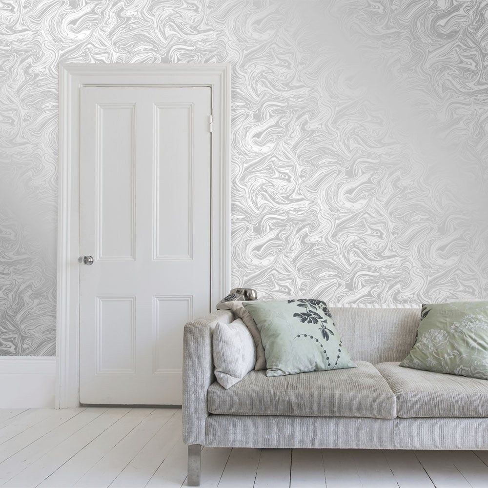 I Love Wallpaper Carrara Marble Metallic Wallpaper Soft