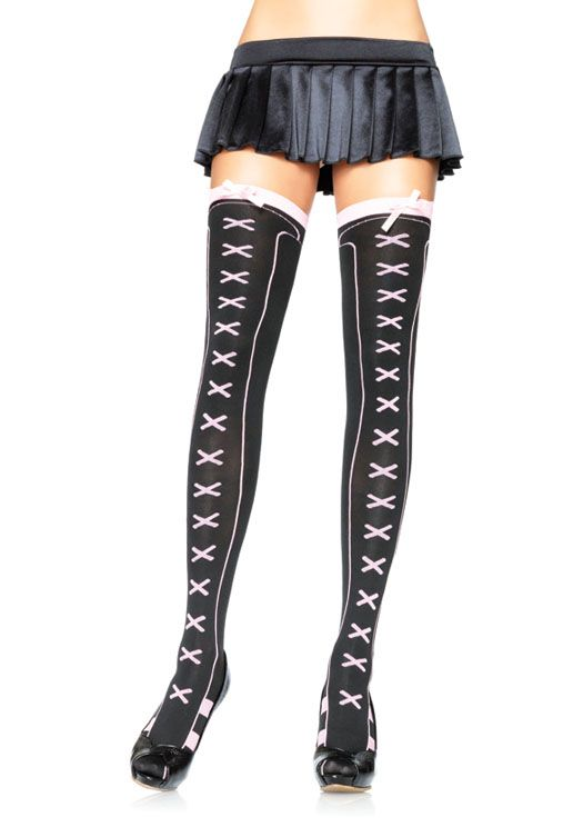 18e35c00c5189 Athletic opaque thigh highs w/ faux lace up front and satin bow O/S BLACK/PINK  65% NYLON 35%COTTON