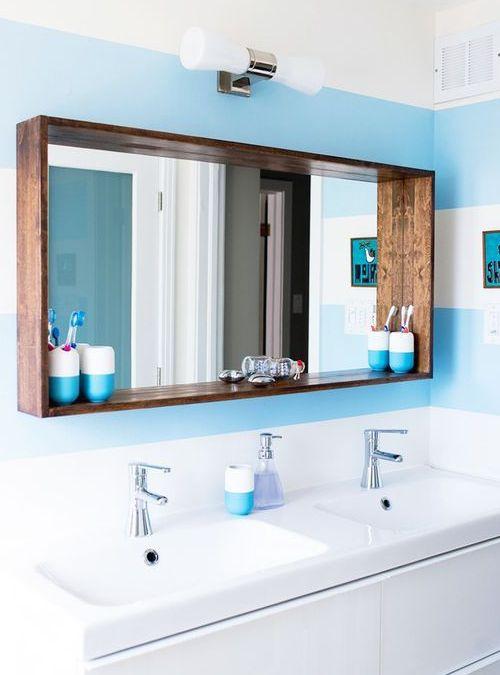 Arredo Bagno Specchio Con Cornice In Legno Design Del Bagno