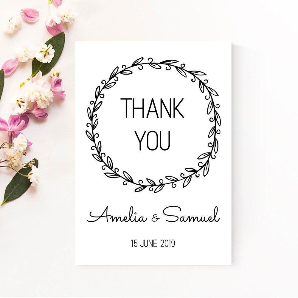 Wedding Thank You Card Printable Calligraphy Thank You Rustic