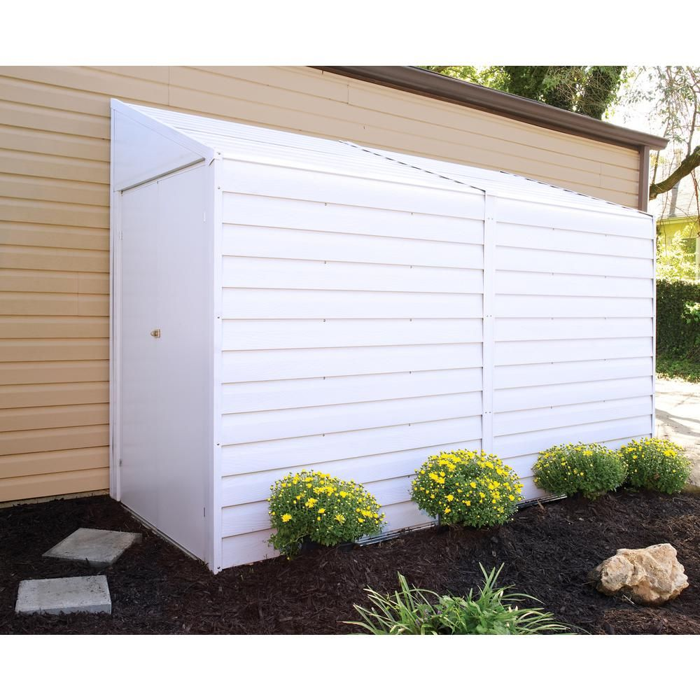 Arrow Yard Saver 4 Ft W X 10 Ft D White Galvanized Metal Storage Shed Ys410 The Home Depot Metal Storage Sheds Building A Shed Storage Shed