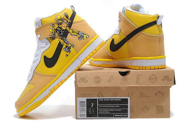 huge discount cf334 67ead Stylish Nikes Dunk High Top Men Transformer - Bumble Bee Shoes