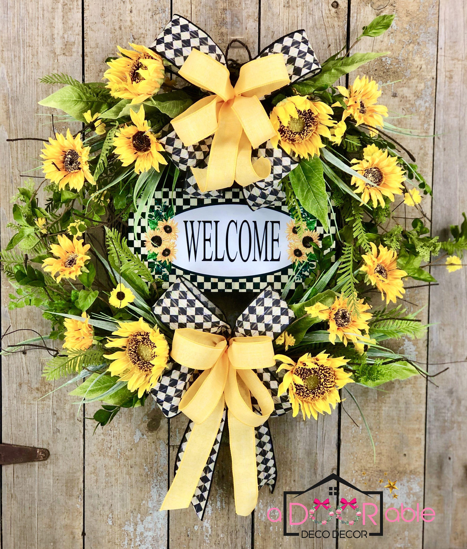 Photo of Sunflower wreath for front door, sunflower welcome wreath, rustic sunflower wreath, sunflower door holder, summer wreath, summer flowers