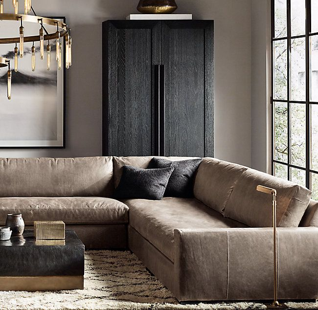Rh S Preconfigured Maxwell Leather U Sofa Sectional Streamlined Design Features A Low Back And Wide Squared Off Seat Cushions