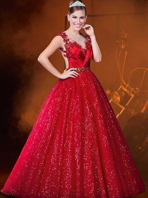 Vestidos De 15 Años Color Rojo Largos Vestidos De