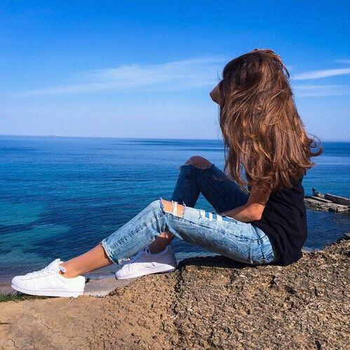 Imagen de girl, hair, and sea