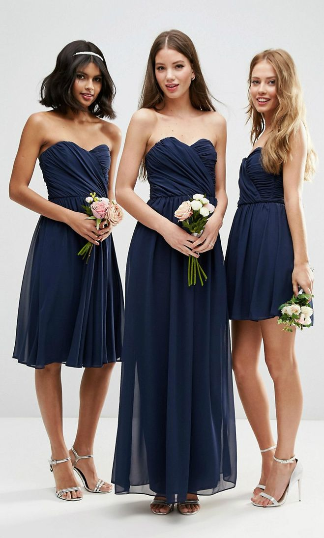 ad5cd5feac46 Navy blue bridesmaid dresses, short. long and midi length strapless navy  blue dresses for bridesmaids.