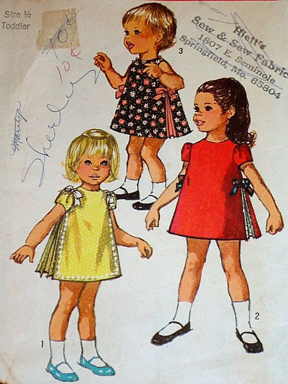 Vintage 1960\'s Simplicity 8564 Sewing Pattern, Toddlers\' Dress, Size ...