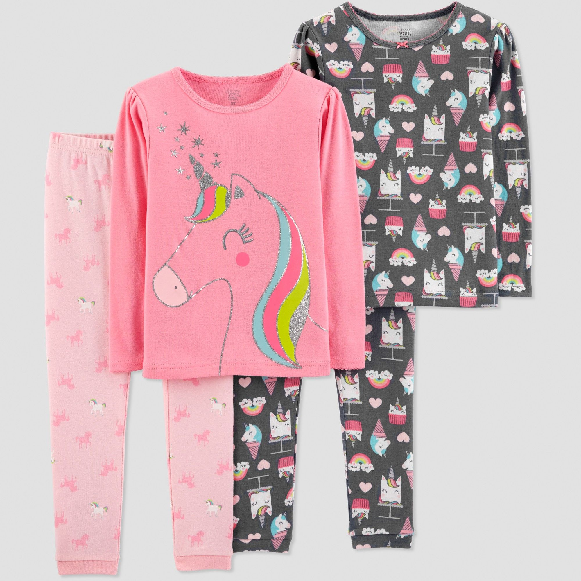 6377446296ac Baby Girls  4pc Unicorn Pajama Set - Just One You made by carter s ...