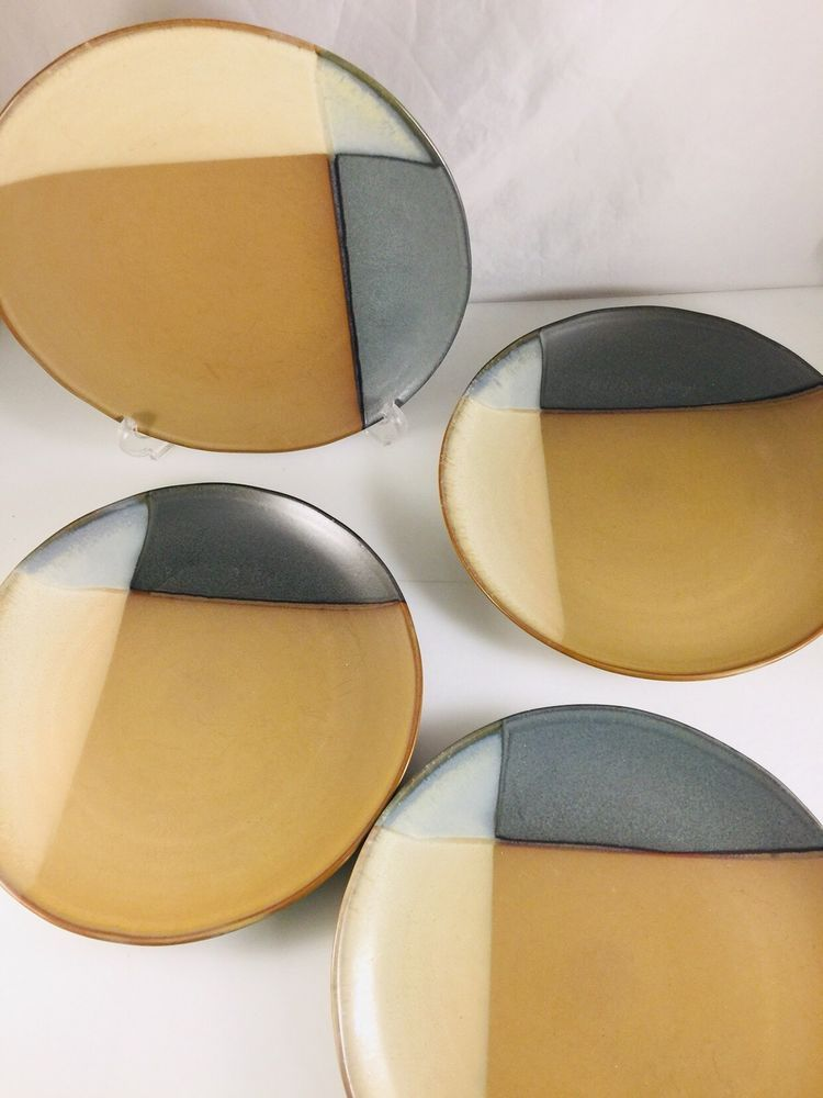 4 Sango Gold Dust Green Brown Tan Beige 5040 Large Dinner Plate Dish ...