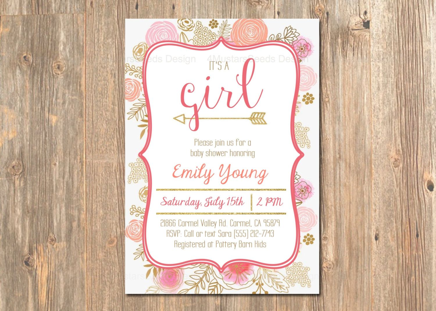 free e cards bridal shower invitations%0A Baby Shower Invitation  It u    s a Girl  Boho invite Pink  u     Gold Glitter   Modern  Floral Invitations  Girl u    s  Card  Cards  Baby u    s  Party Invites