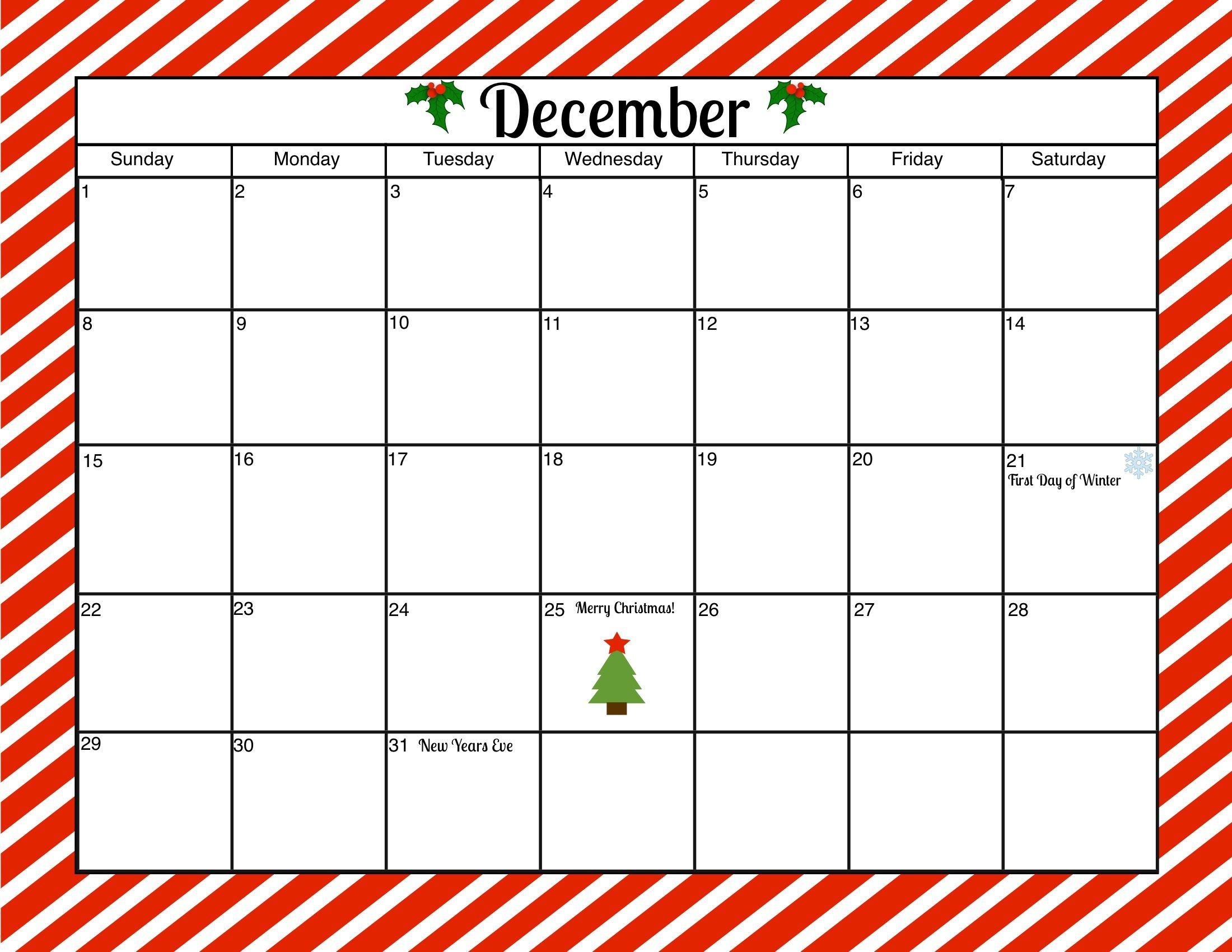 December 2013 Calendar Printable Large December Free Printable