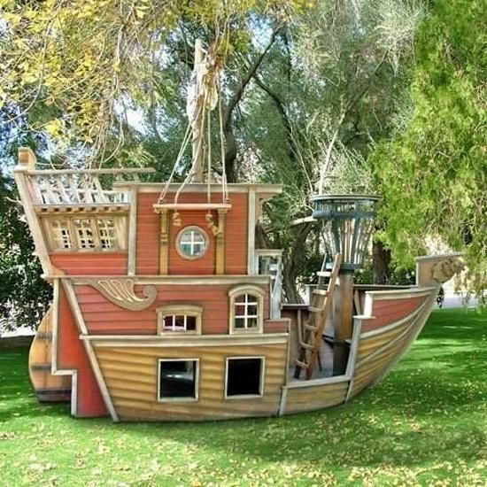 Pirate Ship Play House Design Adding Fun to Kids Backyard Ideas – Fun Backyard Ideas for Kids