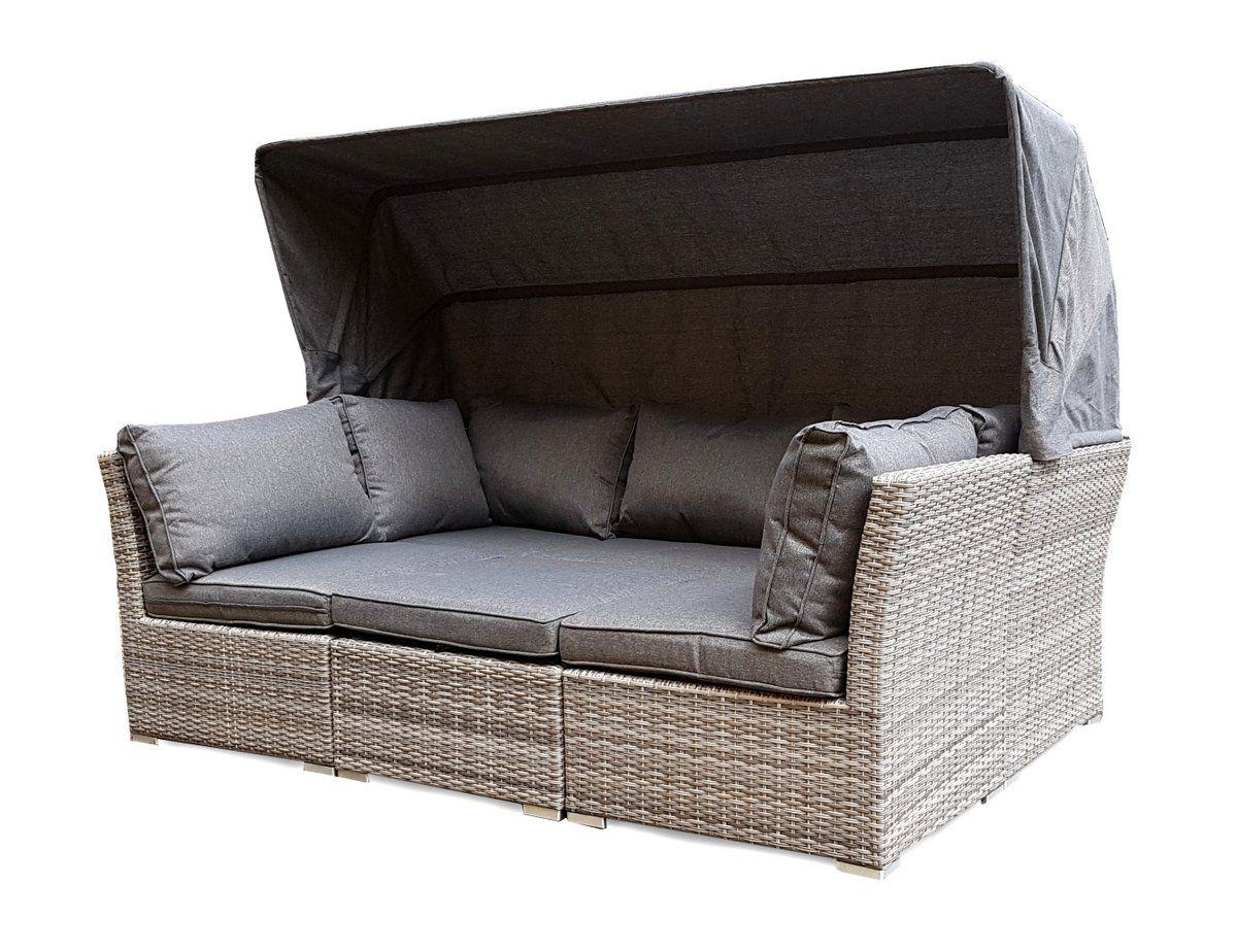 strandkorb lounge palma cabrio sofa alu geflecht 5tlg. grau, Gartenarbeit ideen