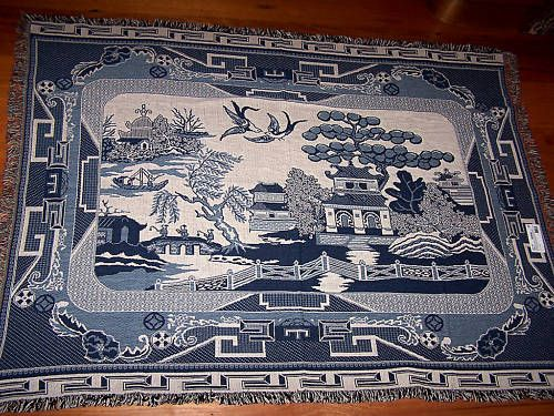 Cotton Tapestry Rug High Tea Blue Willow Pinterest