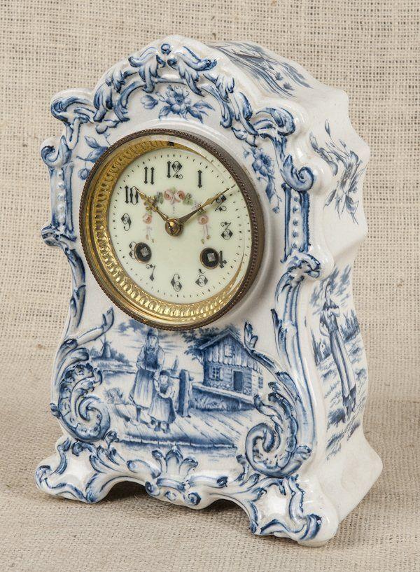 Delft Porcelain Mantel Clock 19th C 9 1 4 H Jun 11 2013 Pook Pook Inc In Pa Clock Mantel Clock Antique Clocks