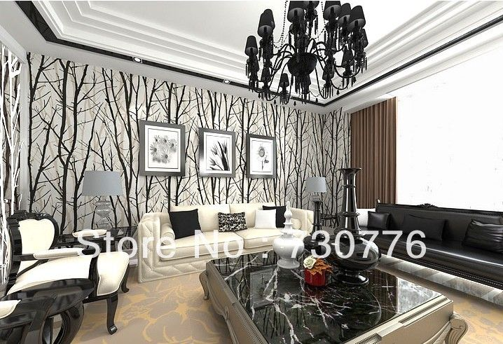 Find More Wallpapers Information About Modern Brief Style PVC - Wallpaper for walls black and white