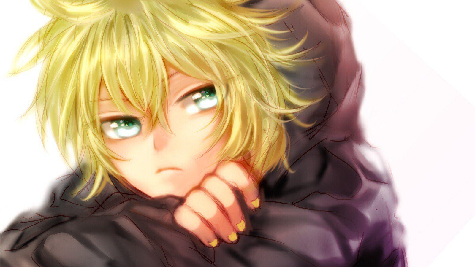 Vocaloid Kagamine Len Green Eyes Anime Boys Wallpaper 1600x900 249197 Wallpaperup Blonde Hair Green Eyes Blonde Hair Blue Eyes Green Eyes