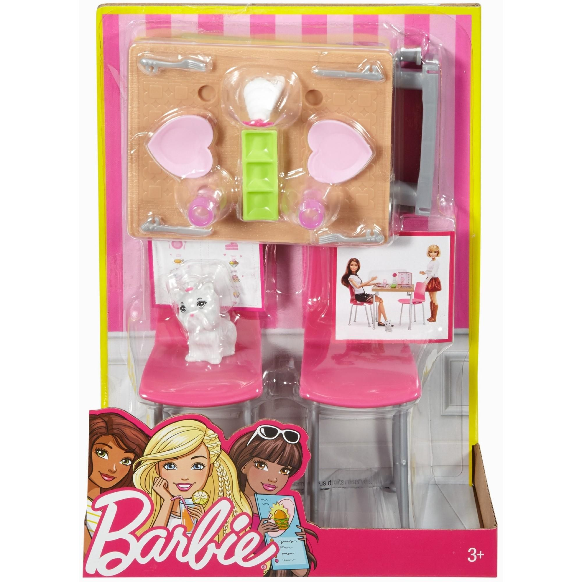 Barbie Furniture And Pet Set With Dining Table And Two Chairs Walmart Com Barbie Furniture Barbie Barbie Toys