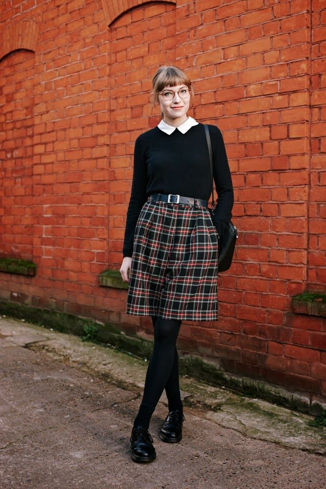 Black sweater with white collar & tartan