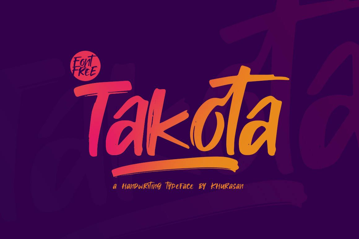 Takota Free Font Brush Font Free Fonts For Designers Best