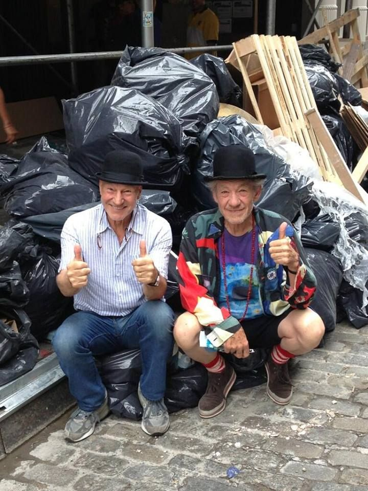 Sir Patrick Stewart & Sir Ian McKellen wearing identical hats while hanging out
