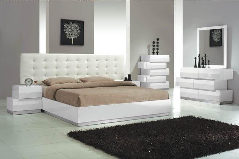 White Modernes Schlafzimmer Set - Schlafzimmer in Bedroom