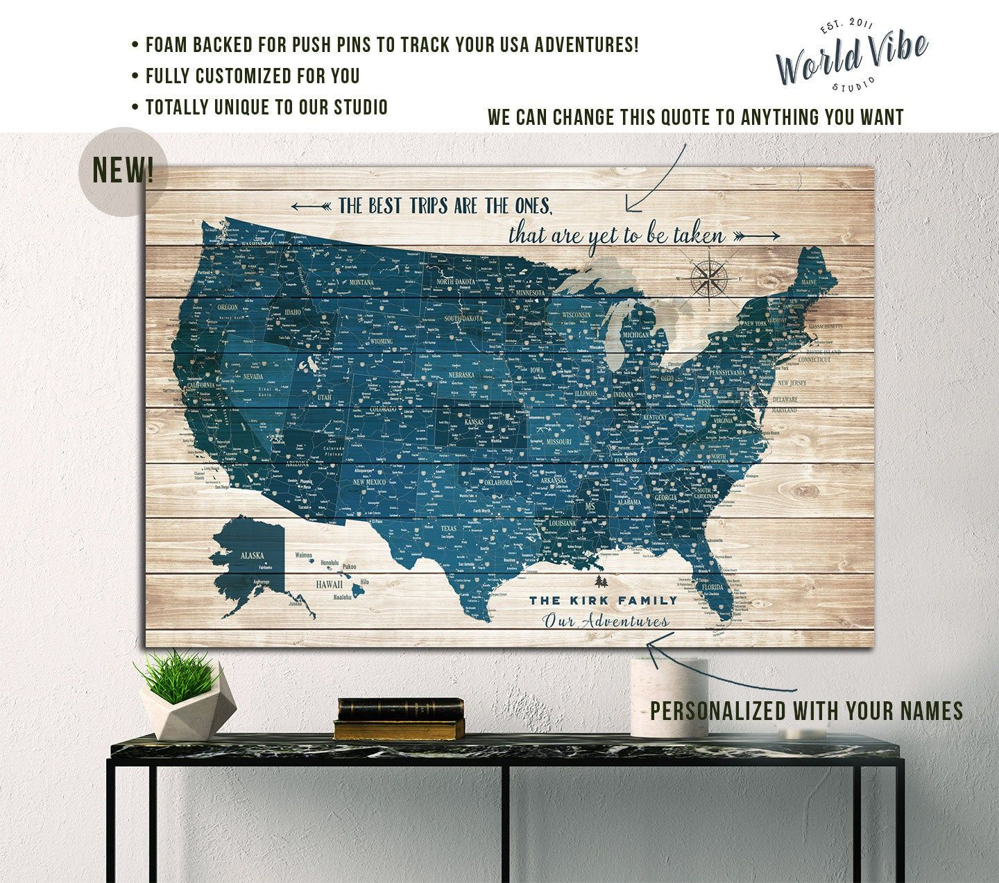 Personalized Us Travel Map United States Map Push Pin, Travel Gift, Personalized Retirement