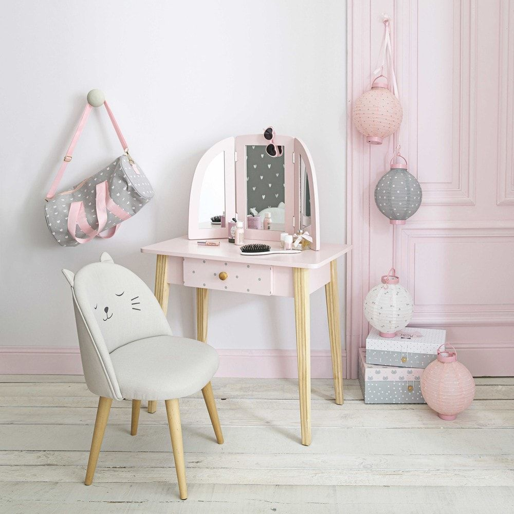 coiffeuse enfant 1 tiroir rose clair en 2019. Black Bedroom Furniture Sets. Home Design Ideas