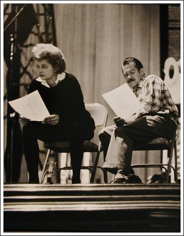 Lucille Ball and Don Tomkins rehearsing.
