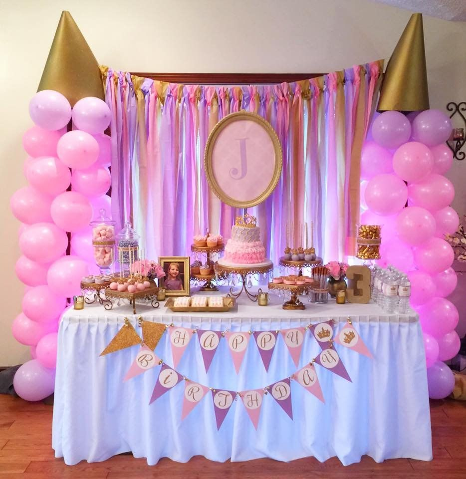 Pink and gold princess birthday party princess birthday for Baby girl birthday party decoration ideas