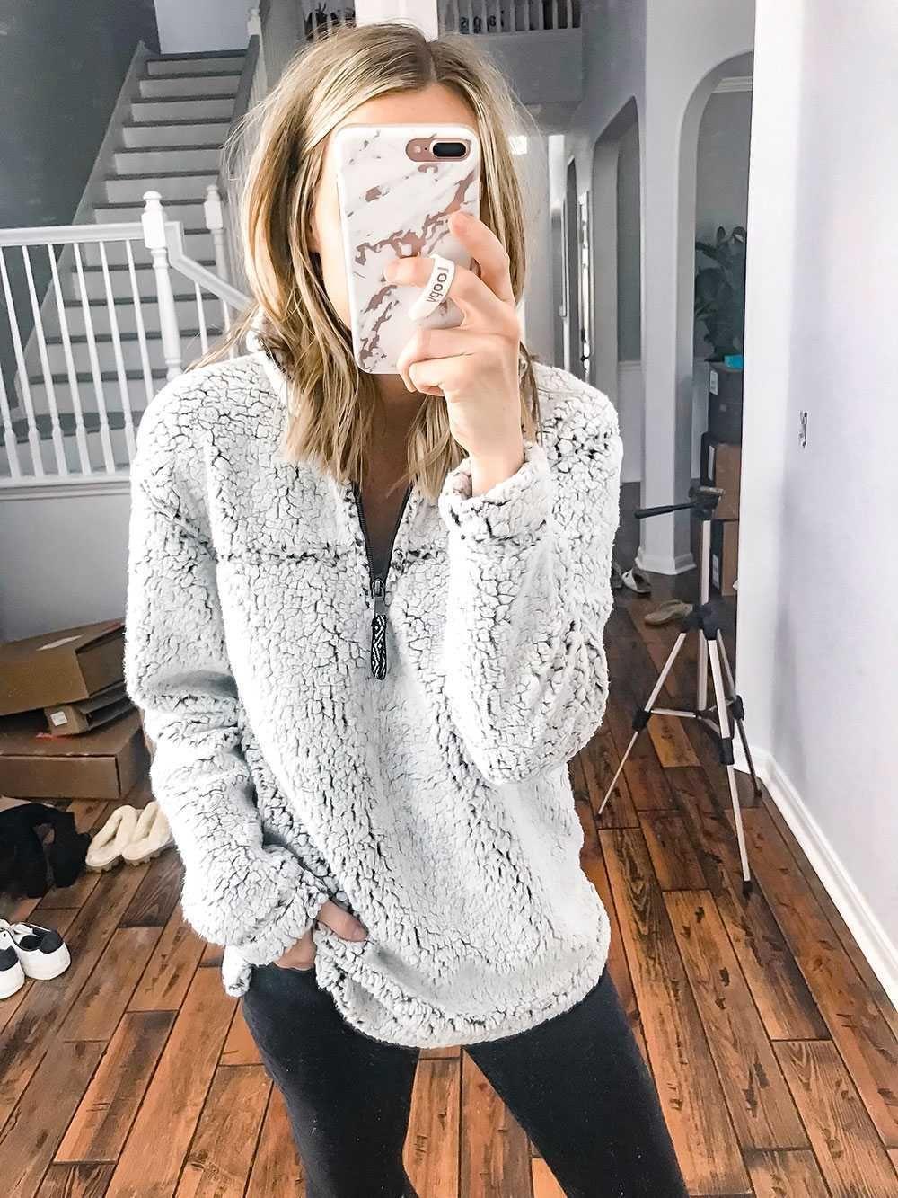 oversized fuzzy jacket pullover sweatshirts teddy fleece faux fur sherpa pullover women's fur fleece faux coats winter clothing #pulloveroutfitsweatshirts #sweatshirt #fuzzy #fauxfur #fleece #shearpa #womenswinterfashion