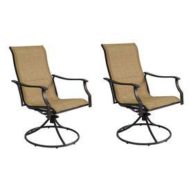 Garden Treasures Set Of 2 Eastmoreland Textured Brown Sling Seat Steel  Swivel Patio Dining Chair