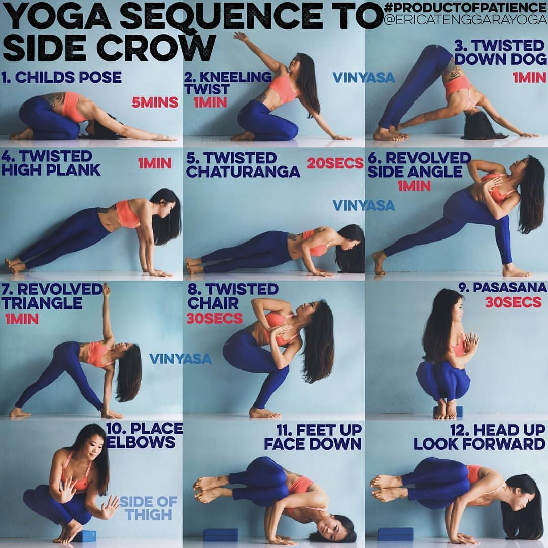 Yoga Sequence To Side Crow This Pose Requires Lots Of Twisting So Best To Do This Before You