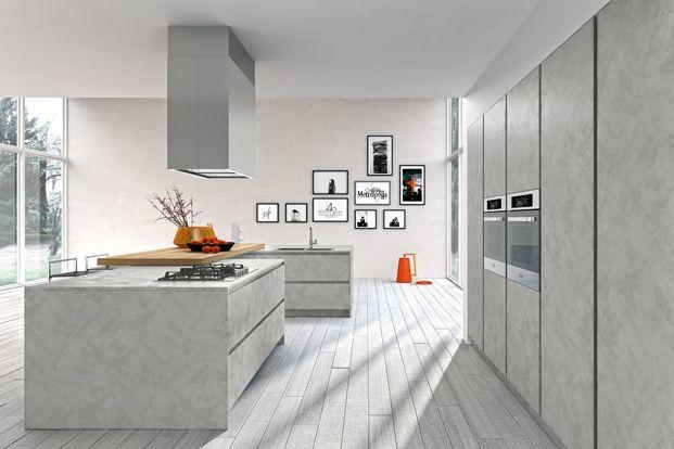 cuisine quipe design avec lot faades laques mat sans poignes de snaidero lot design avec meubles arrondis et plan en double matriaux - Cuisine Parallele Avec Ilot
