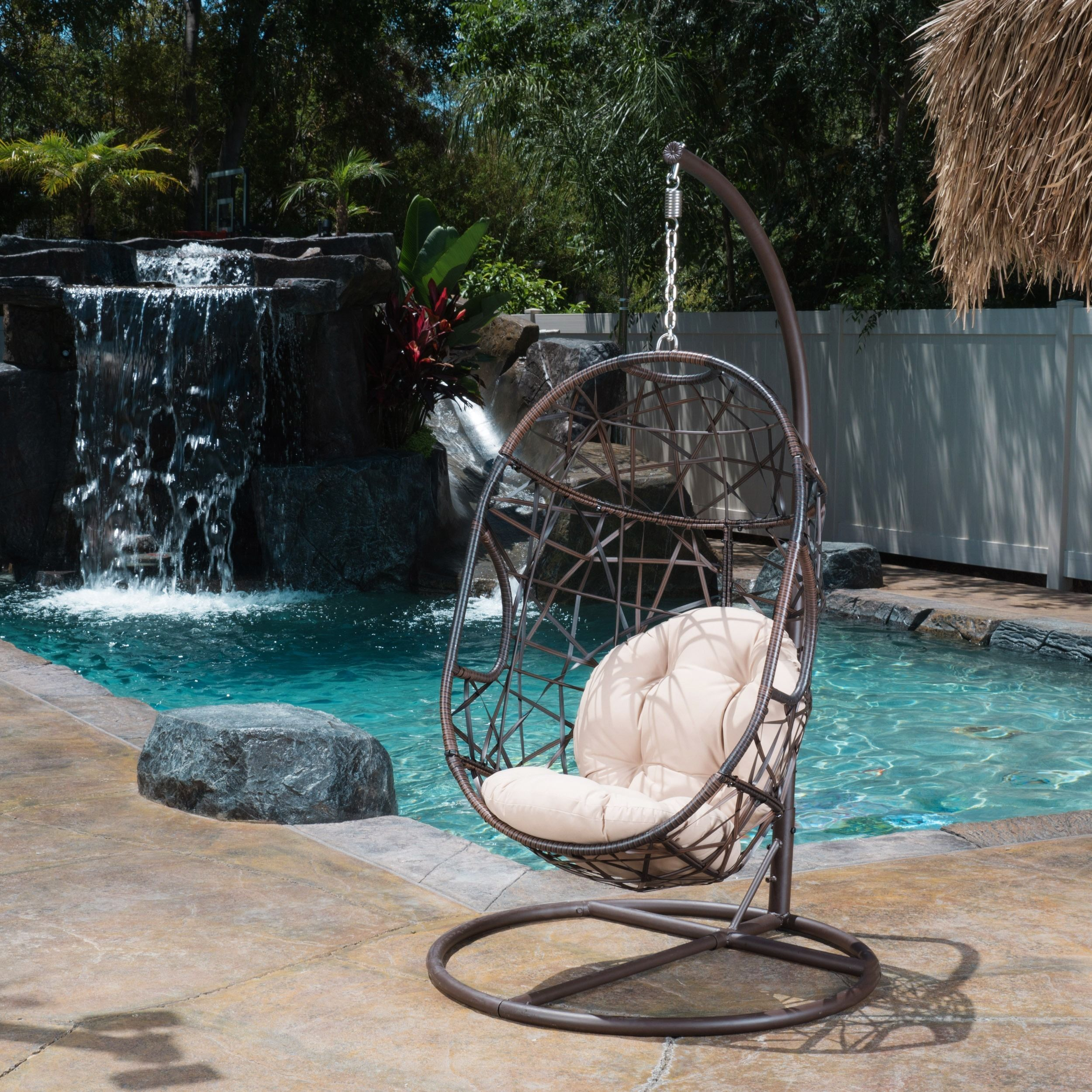 Outdoor Egg Wicker Chair By Christopher Knight Home Swinging Egg