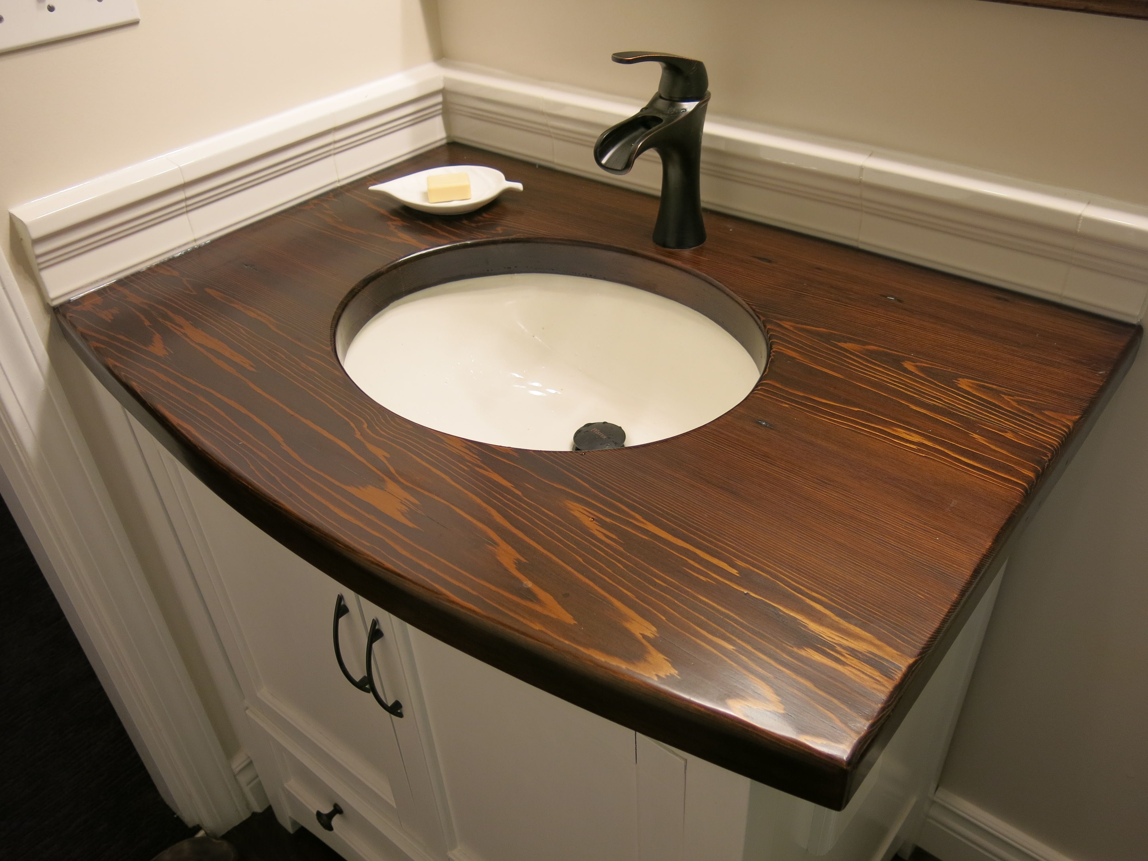 Wooden Bathroom Sink Cabinet Countertop Oil Rubbed Bronze Faucet Undermount Sink Curved