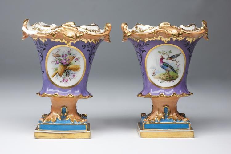 Pareja De Floreros Franceses Old Paris Porcelain 1770 1870