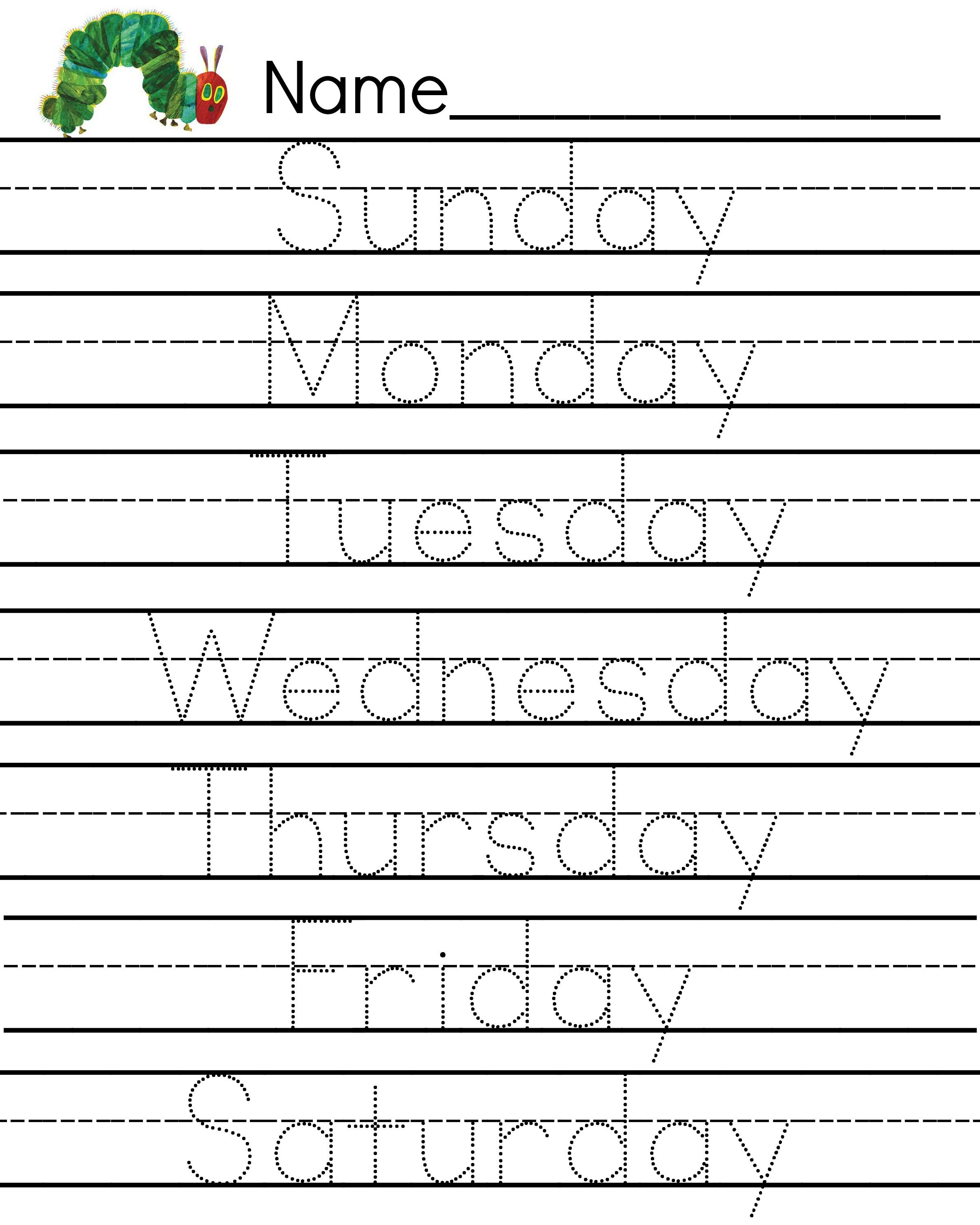 The Very Hungry Caterpillar Days Of The Week Writing Sheet
