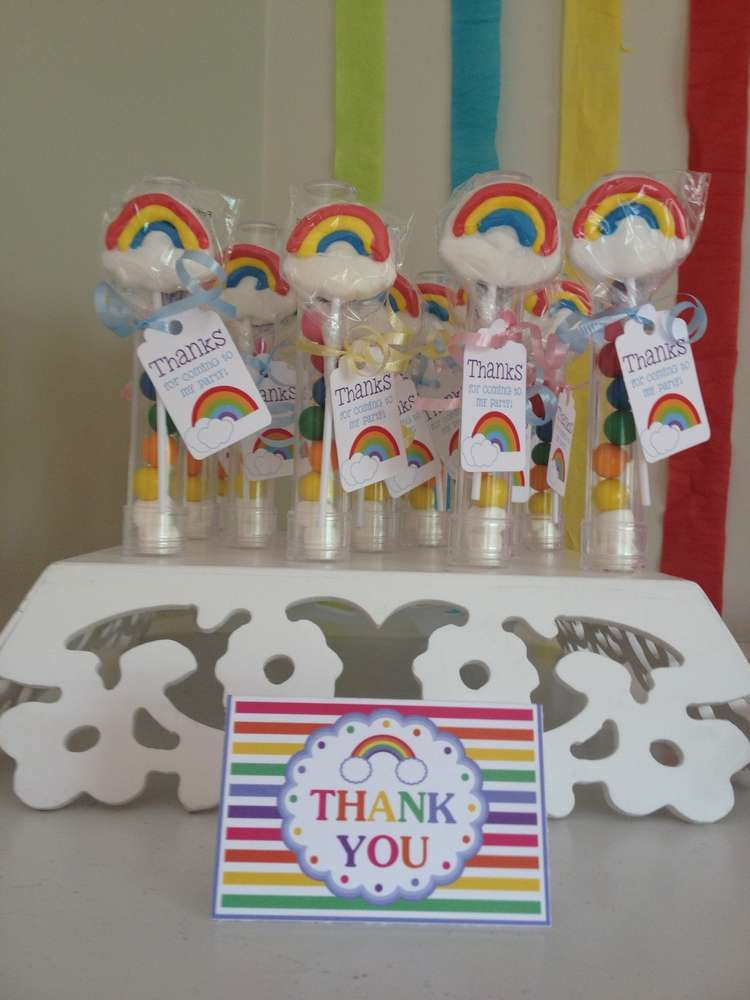 Rainbow birthday party candy favors! See more party planning ideas at CatchMyParty.com!