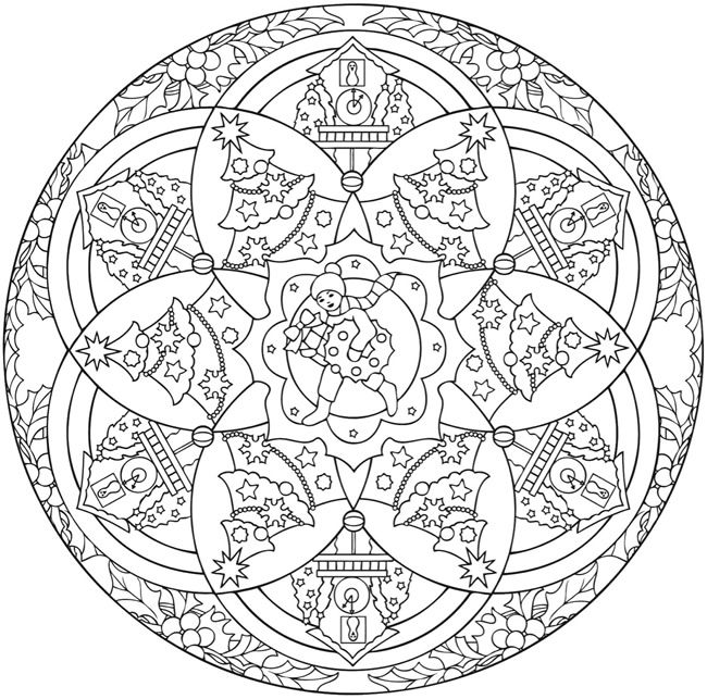 Creative Haven Christmas Mandalas Colouring Book by Marty Noble Dover Publications * Christmas Coloring pages colouring adult detailed advanced printable Kleuren voor volwassenen coloriage pour adulte anti-stress kleurplaat voor volwassenen Line Art Black and White Santa Noel Peace Gift decoration Toy  Present Elf Ornament Candy Joy Carol Stocking Family