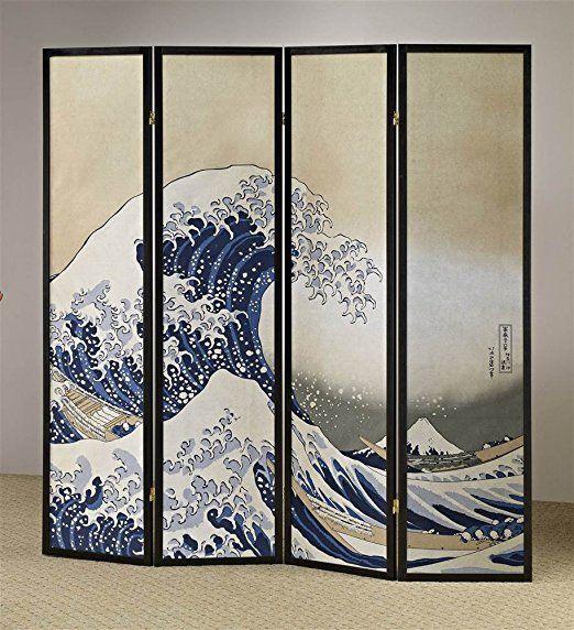 ADF 4 Panel Fukusai Wave Shoji Screen Stoff raumteiler