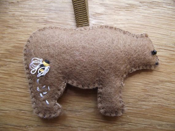 Bear bear ornament felt bear brown bear hand by MaysCottageWales