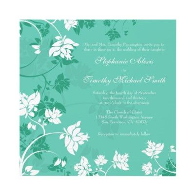 Aquamarine White Floral Swirls Wedding Invitation Wedding