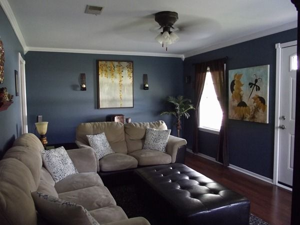 Dark Grey Blue Walls Bright White Trim Beige And Brown Furniture Only With Curtains Also I Would Throw The Home Paint