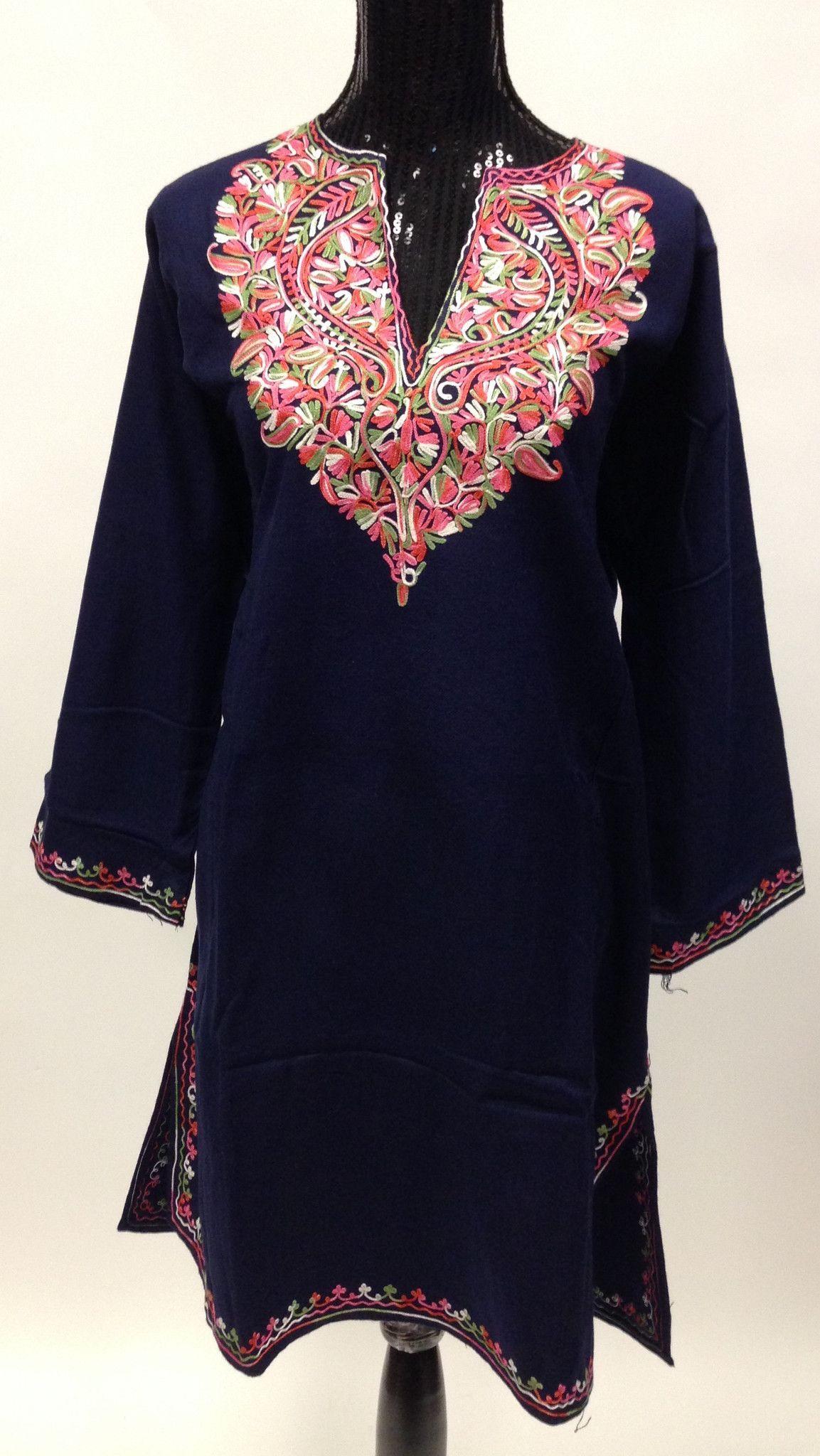 fb1312037d Kashmiri Embroidered Long Wool Phiran - Blue in 2019   Designing ...