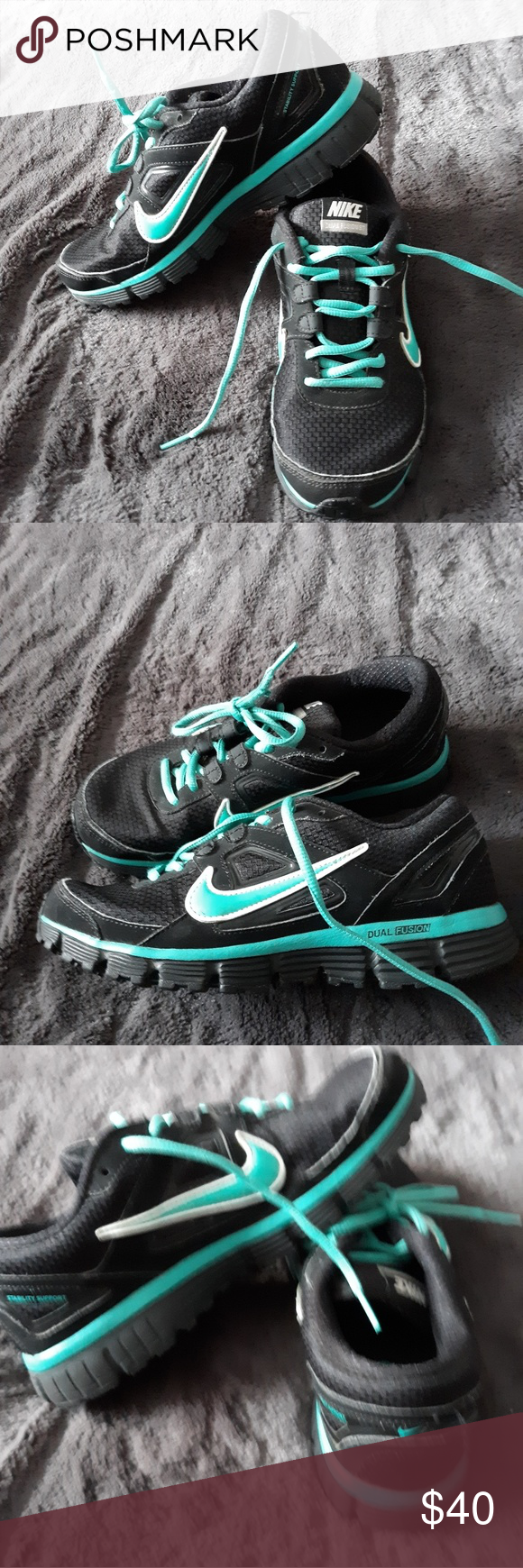 8b3efe63273 Blk and teal nike Dual Fusion ST Womens Size7.5 mesh running sneaker ...